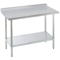 Advance Tabco SFLAG-247 84 inch x 24 inch 16 Gauge Stainless Steel Work Table with 1 1/2 inch Backsplash and Stainless Steel Undershelf
