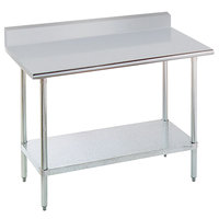 Advance Tabco KSLAG-307-X 30 inch x 84 inch 16 Gauge Stainless Steel Work Table with 5 inch Backsplash and Adjustable Undershelf