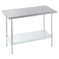 16 Gauge Advance Tabco ELAG-185-X Stainless Steel Work Table with Galvanized Legs and Undershelf - 60 inch x 18 inch