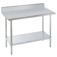 Advance Tabco KMSLAG-242 24 inch x 24 inch 16 Gauge Stainless Steel Work Table with 5 inch Backsplash and Adjustable Undershelf