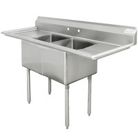 Advance Tabco FE-2-2424-24RL Two Compartment Stainless Steel Commercial Sink with Two Drainboards - 96 inch