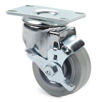 Cambro 60040 3 inch Replacement Swivel Caster with Brake for Service Carts and Camchiller Carts