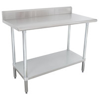 16 Gauge Advance Tabco KLAG-240-X 24 inch x 30 inch Stainless Steel Work Table with 5 inch Backsplash and Galvanized Undershelf