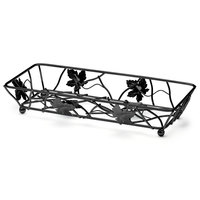 Elite Global Solutions WB6142 Black Rectangular Metal Leaf Wire Basket - 14 inch x 6 inch x 2 inch