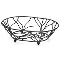 Elite Global Solutions WB1283 Black Oval Metal Wire Basket - 12 inch x 8 inch x 3 inch