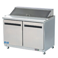 Arctic Air Mega Top AMT48R 48 inch Refrigerated Sandwich / Salad Prep Table with Two Doors 16 Pans