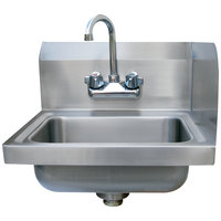 Advance Tabco 7-PS-EC-SPR Hand Sink with Splash Mounted Gooseneck Faucet and Right Side Splash Guard - 17 inch