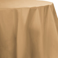 Creative Converting 703276 82 inch Glittering Gold OctyRound Disposable Plastic Table Cover - 12 / Case