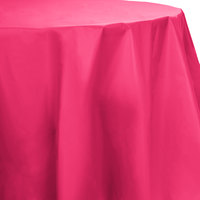 Creative Converting 703277 82 inch Hot Magenta Pink OctyRound Disposable Plastic Table Cover - 12 / Case