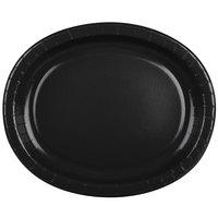Creative Converting 433260 12 inch x 10 inch Black Velvet Oval Paper Platter - 96/Case