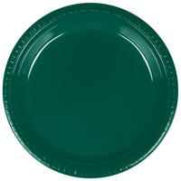 Creative Converting 28312421 9 inch Hunter Green Plastic Dinner Plate - 240 / Case