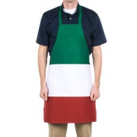 Choice Italian Three-Panel Full Length Bib Apron with Pockets - 32 inchL x 28 inchW