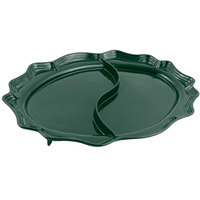 Bon Chef 2030D Queen Anne 18 3/4 inch x 24 inch Sandstone Hunter Green Cast Aluminum Divided Oval Platter