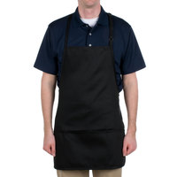 Chef Revival 612BAFH-BK Customizable Black Bib Apron - 28 inchL x 27 inchW