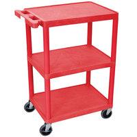 Luxor / H. Wilson HE34-RD Red 3 Shelf Utility Cart - 18 inch x 24 inch x 32 1/2 inch