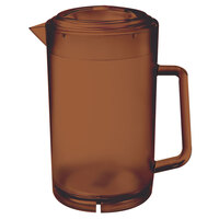 GET P-3064-1-A 64 oz. Amber Textured Pitcher with Lid - 12 / Case