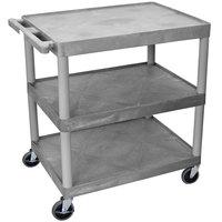 Luxor / H. Wilson HE33-G Gray 3 Flat Shelf Structural Foam Plastic Utility Cart - 24 inch x 32 inch x 33 1/2 inch