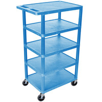 Luxor / H. Wilson BC50-BU Blue 5 Flat Shelf Structural Foam Plastic Utility Cart - 18 inch x 24 inch x 46 inch