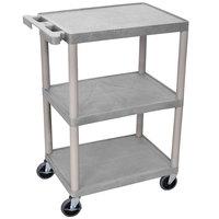 Luxor / H. Wilson HE34-G Gray 3 Shelf Utility Cart - 18 inch x 24 inch x 32 1/2 inch