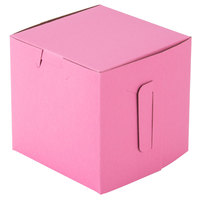 "Southern Champion 807 4"" x 4"" x 4"" Pink Cake / Bakery Box - 200/Bundle"