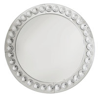 The Jay Companies 13 inch Round Silver Beaded Mirror Glass Charger Plate