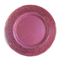 The Jay Companies 12 3/4 inch Round Arizona Mulberry Glass Charger Plate