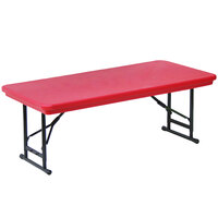 Correll R-Series RA3072S 30 inch x 72 inch Red Plastic Adjustable Height Folding Table - Short Legs