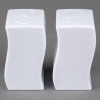 Fineline Tiny Temptations 610102-WH Tiny Twinnies White Plastic Salt and Pepper Shakers - 12/Case