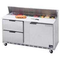Beverage-Air SPED60-12C-2 60 inch Refrigerated Salad / Sandwich Prep Table with One Door and Two Drawers - Cutting Board Top
