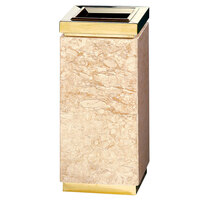 Rubbermaid DM12T Accents Golden Travertine Square Marble and Brass Waste Receptacle with Galvanized Steel Liner 5 Gallon (FGDM12TGTM)