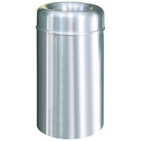 Rubbermaid AOT30 Crowne Satin Aluminum Round Open Top Steel Waste Receptacle with Rigid Plastic Liner 30 Gallon (FGAOT30SAPL)
