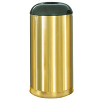 Rubbermaid R32 Metallic Round Open Top Satin Brass Stainless Steel Waste Receptacle with Galvanized Steel Liner 15 Gallon (FGR32SBSGL)