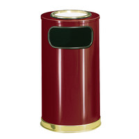 Rubbermaid SO16SU European Crimson with Brass Accents Round Steel Waste Receptacle with Galvanized Steel Liner and Sand Urn Cap Ash Tray 12 Gallon (FGSO16SU10GLCR)