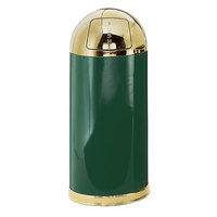 Rubbermaid R1536 European Empire Green with Brass Accents Round Steel Waste Receptacle with Galvanized Steel Liner 15 Gallon (FGR153610GLEGN)