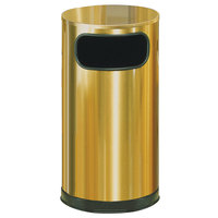 Rubbermaid SO16 Metallic Round Satin Brass Stainless Steel Waste Receptacle with Galvanized Steel Liner 12 Gallon (FGSO16SBSGL)