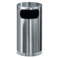 Rubbermaid SO16 Metallic Round Satin Stainless Steel Waste Receptacle with Galvanized Steel Liner 12 Gallon (FGSO16SSSGL)