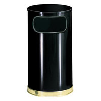 Rubbermaid SO16 European Black with Brass Accents Round Steel Waste Receptacle with Galvanized Steel Liner 12 Gallon (FGSO1610GLBK)