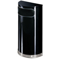 Rubbermaid SO8 European Black with Chrome Accents Half Round Steel Waste Receptacle with Rigid Plastic Liner 9 Gallon (FGSO820PLBK)