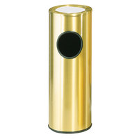 Rubbermaid 1100 Metallic Series Satin Brass Stainless Steel Round Waste Receptacle with Ash Tray and Rigid Plastic Liner 3.5 Gallon (FG1100SBSPL)