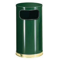 Rubbermaid SO16 European Empire Green with Brass Accents Round Steel Waste Receptacle with Galvanized Steel Liner 12 Gallon (FGSO1610GLEGN)