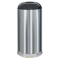Rubbermaid R32 Metallic Round Open Top Satin Stainless Steel Waste Receptacle with Galvanized Steel Liner 15 Gallon (FGR32SSSGL)
