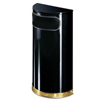 Rubbermaid SO8 European Black with Brass Accents Half Round Steel Waste Receptacle with Rigid Plastic Liner 9 Gallon (FGSO810PLBK)