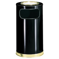 Rubbermaid SO16SU European Black with Brass Accents Round Steel Waste Receptacle with Galvanized Steel Liner and Sand Urn Cap Ash Tray 12 Gallon (FGSO16SU10GLBK)