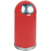 Rubbermaid R1530E Round-Tops Red Round Steel Waste Receptacle with Galvanized Steel Liner 12 Gallon (FGR1530EGLRD)