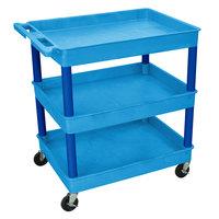 Luxor / H. Wilson TC111 Blue 3 Tub Utility Cart - 24 inch x 32 inch x 38 1/2 inch