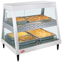 Hatco GRHD-2PD White Granite Stainless Steel Glo-Ray 32 1/2 inch Full Service Dual Shelf Merchandiser