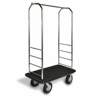 CSL 2000BK-010 Chrome Finish Bellman's Cart with Rectangular Black Carpet Base, Black Bumper, Clothing Rail, and 8 inch Black Pneumatic Casters - 43 inch x 23 inch x 72 1/2 inch