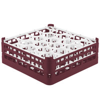 Vollrath 52704 Signature Lemon Drop Full-Size Burgundy 20-Compartment 6 1/4 inch Tall Plus Glass Rack