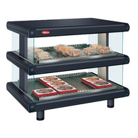 Hatco GR2SDH-24D Black Glo-Ray Designer 24 inch Horizontal Double Shelf Merchandiser - 120V
