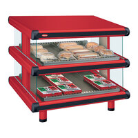 Hatco GR2SDS-36D Warm Red Glo-Ray Designer 36 inch Slanted Double Shelf Merchandiser